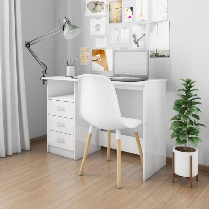 Bureau blanc table de travail bureau table étagère PC table tiroirs 110x50x76 cm Aggloméré -PAI