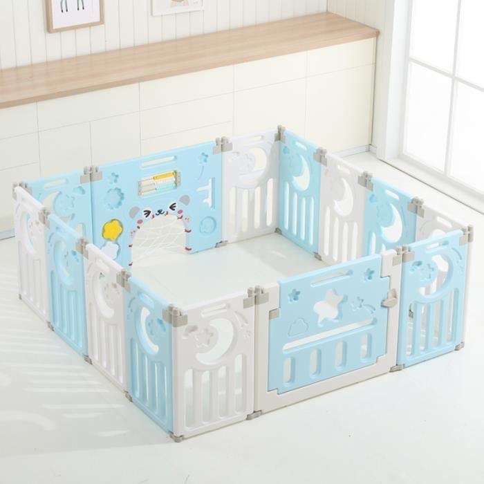Parc Bébé Plastique pour Fille et Garçon, Barrière de Sécurité Pliable pour Enfants-Bleu et Blanc, 10 Mois à 6 Ans, 14 Panneaux