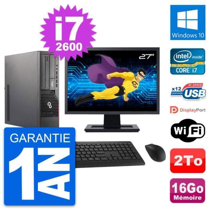 PC Fujitsu E700 DT Ecran 27- Intel i7-2600 RAM 16Go Disque 2To Windows 10 Wifi