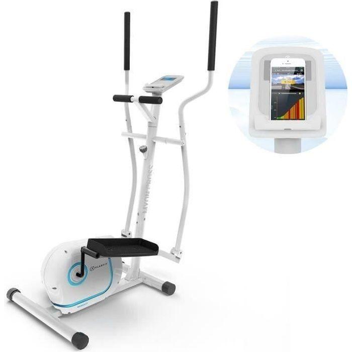 Klarfit Myon Cycle Vélo elliptique ergonomique et silencieux avec écran LCD - Inertie de 12 kg - 8 résistances magnétiques - Blanc