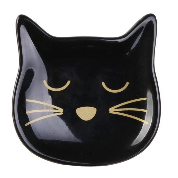 Repose sachets céramique 'Les Chats' noir doré - 6x6 cm [R2516]