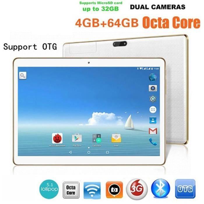 Tablette Tactile PC 10.1- Android MT6592 4Go RAM 64Go ROM Noir Double Carte Double Caméra BLANC