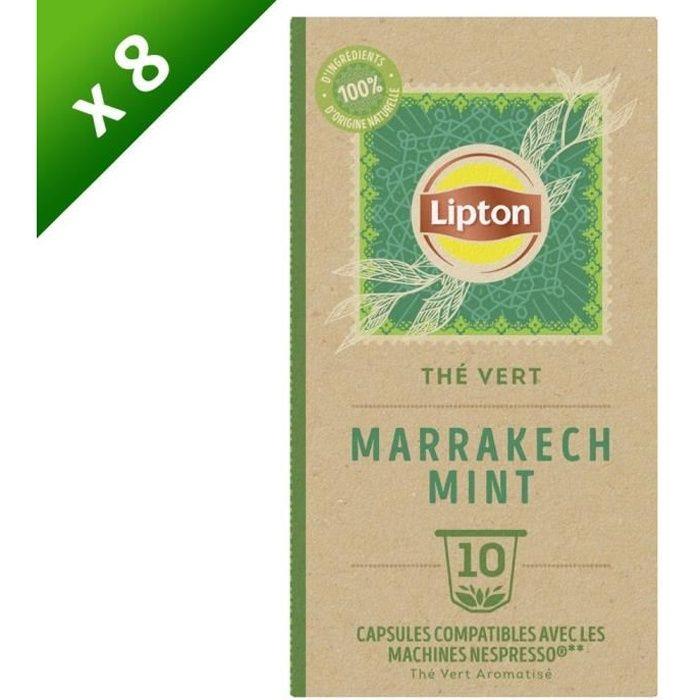 Lot de 8 LIPTON Capsules Thé vert BIO Menthe de Marrakech pour Nespresso (8 x 10 Capsules)