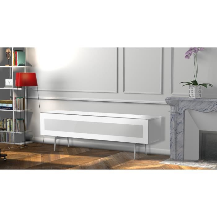 MELICONI MELBOURNE 160 Meuble TV - Longueur 160 cm - Porte abattante finition VERRE INFRAROUGE - Pieds Vintages couleur Silver
