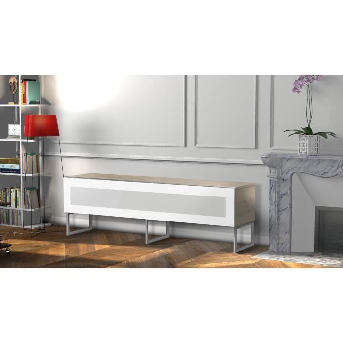 MELICONI MILANO 160 Meuble TV - Longueur 160 cm - Porte abattante finition VERRE INFRAROUGE - Pieds Design couleur Silver