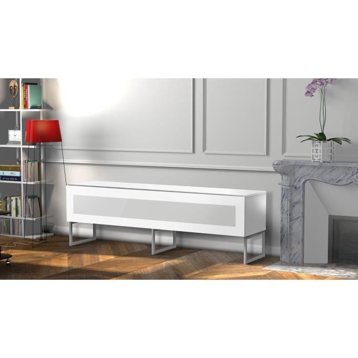 MELICONI NAPOLI 160 Meuble TV - Longueur 160 cm - Porte abattante finition VERRE INFRAROUGE - Pieds Design couleur Silver