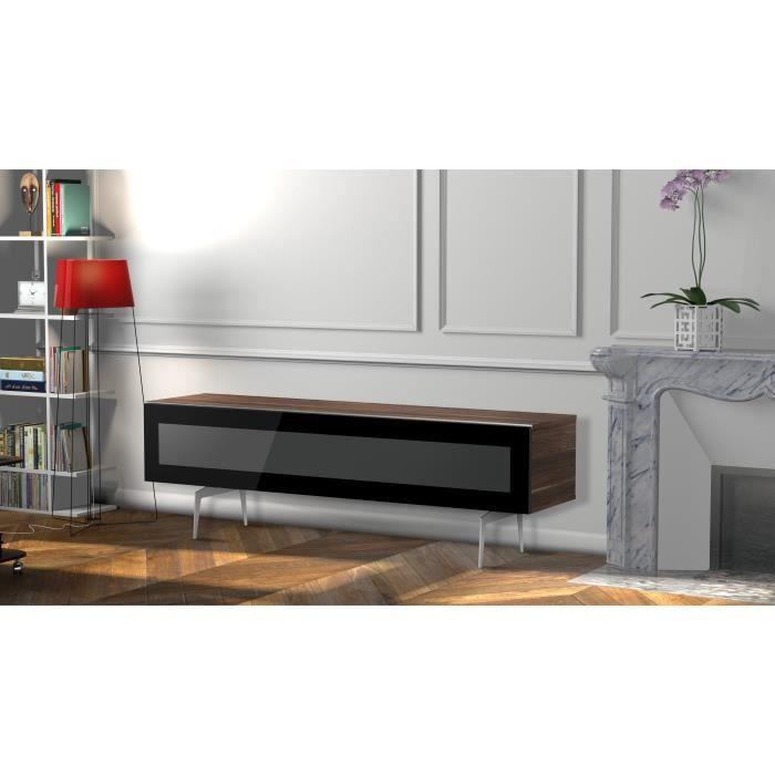 MELICONI NOOSA 160 Meuble TV - Longueur 160 cm - Porte abattante finition VERRE INFRAROUGE - Pieds Vintages couleur Silver