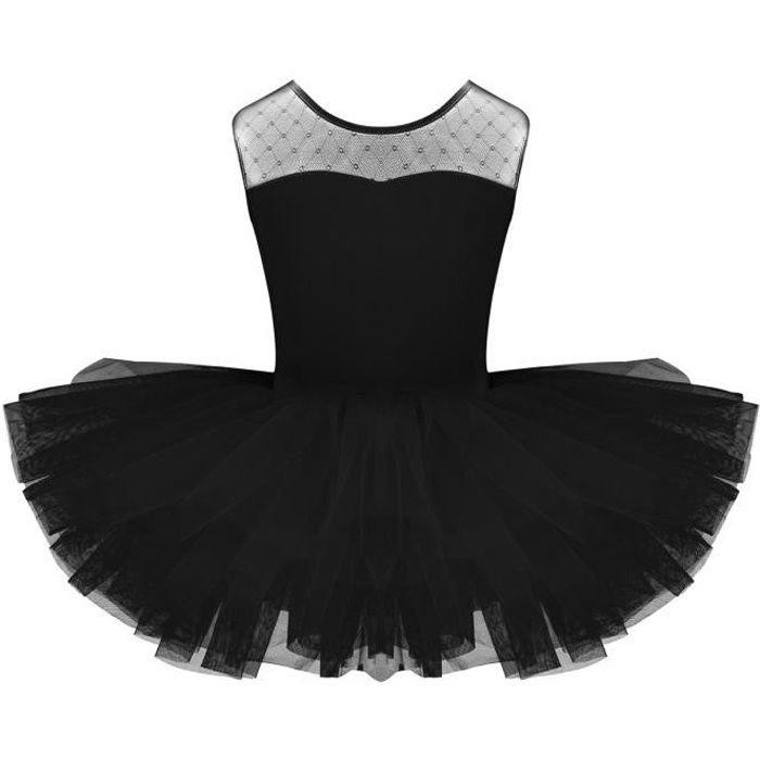Tutu de Danse Ballet Classique Enfant Fille Manches Courtes Coton Leoratd 4-12 Ans Noir