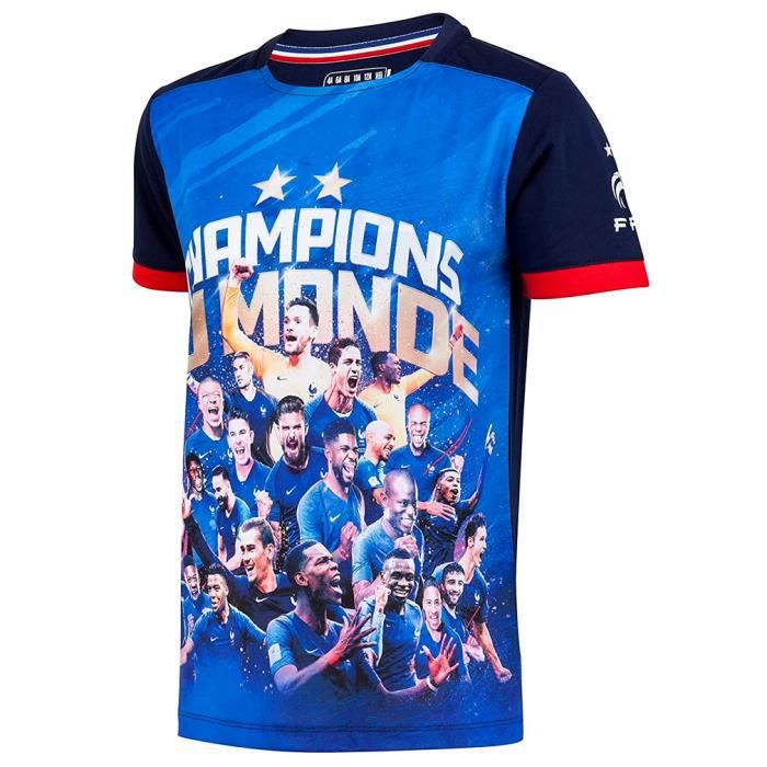 Maillot de Foot FFF Enfant 'Champions du Monde' Officiel - Bleu