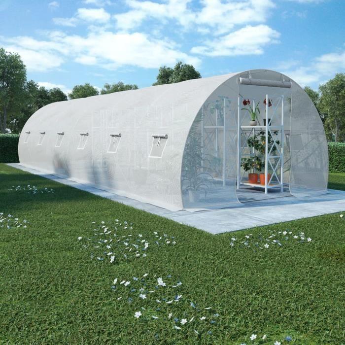 SERRE DE JARDINAGE Abri de Jardin avec fondation en acier 27 m2 900 x 300 x 200 cm