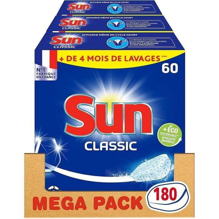 SUN Tablettes Lave-Vaisselle Classique - 180 Lavages (Lot de 3x 60 Lavages) - 1,710 kg