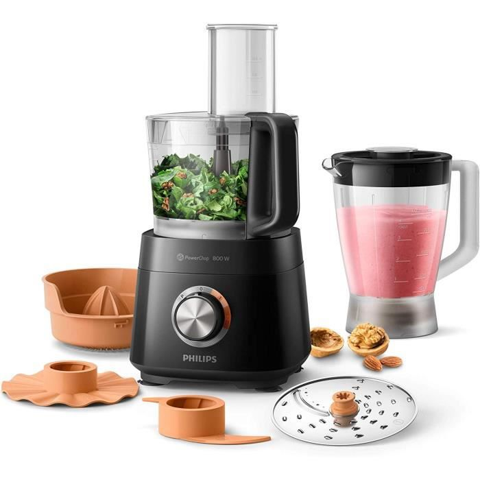 PHILIPS HR7510/10 Robot Compact Viva Collection - 800W, avec blender 1L et presse-agrume