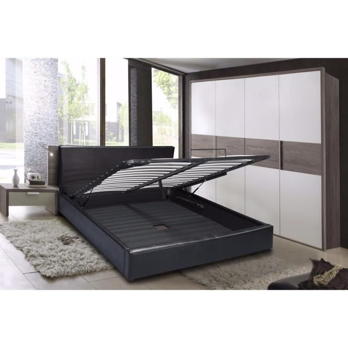 rico lit coffre sommier contemporain simili noir l 160 x l 200 cm achat vente structure. Black Bedroom Furniture Sets. Home Design Ideas