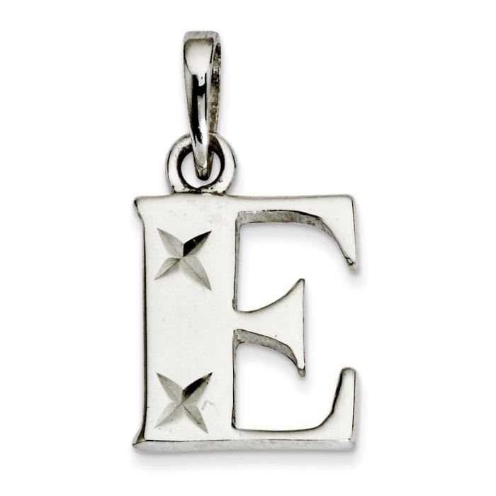 Argent Sterling poli diamant coupe pendentif Initiale-E