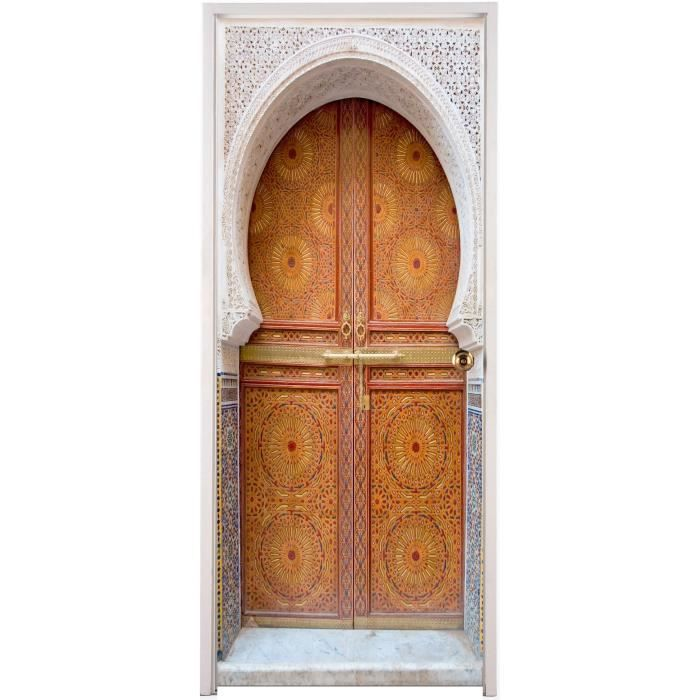 Stickers porte d co porte orientale r f 058 dimensions for Decoration porte orientale