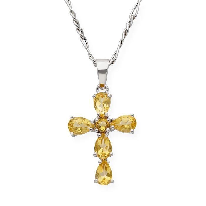 PENDENTIF VENDU SEUL Pendentif croix d'argent avec cuarzos citrinos