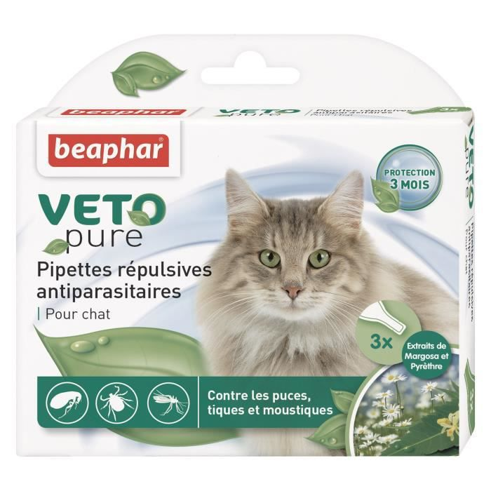 Beaphar vetopure pipettes r pulsives antiparasitaires pour chat achat vente - Plante repulsive pour chat ...