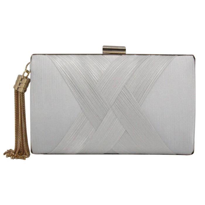 Main Luxe Pour Tressé Blanc Soirée Franges Pochette De Sac Déco Femme A Nk0wPXZ8nO