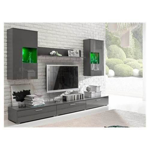 Ensemble mural autua gris achat vente meuble tv for Ensemble tv mural