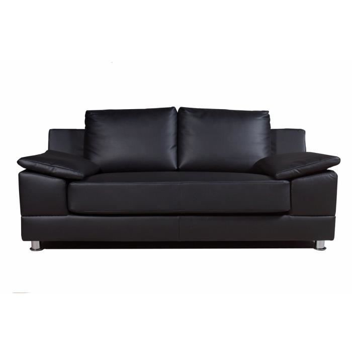 canap 2 places simili cuir noir arizona achat vente canap sofa divan cuir pvc mdf. Black Bedroom Furniture Sets. Home Design Ideas