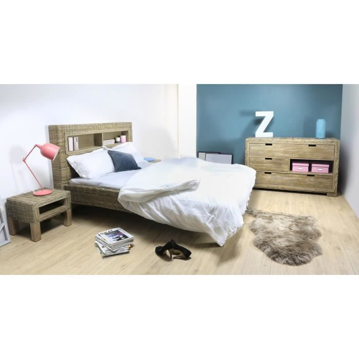 lit adulte 160 x 200 cm bois de manguier et kubu tress mango moncornerdeco. Black Bedroom Furniture Sets. Home Design Ideas