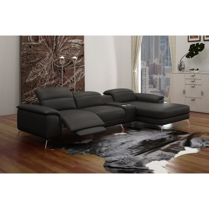 canap d 39 angle en cuir italien 5 places relaxia achat vente canap sofa divan canap d. Black Bedroom Furniture Sets. Home Design Ideas