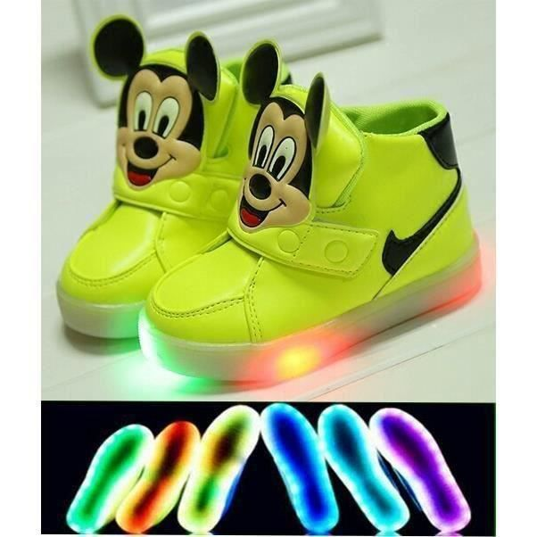 Rose Lumiére Mickey Chaussure Soldes Vente Achat Basket Led 7vwtq8