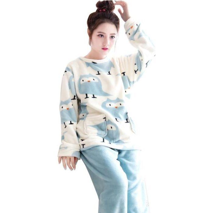 Pyjama Ensemble Femme Rond Polaire Chaud Manches Longues Col yOvN8n0wm