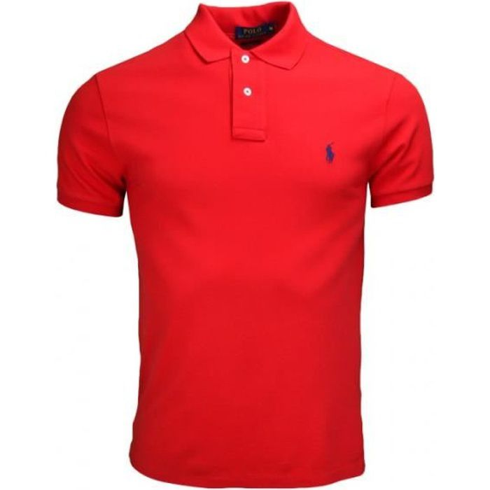 polo ralph lauren slim fit 2 boutons pour homme rouge rouge achat vente polo cdiscount. Black Bedroom Furniture Sets. Home Design Ideas