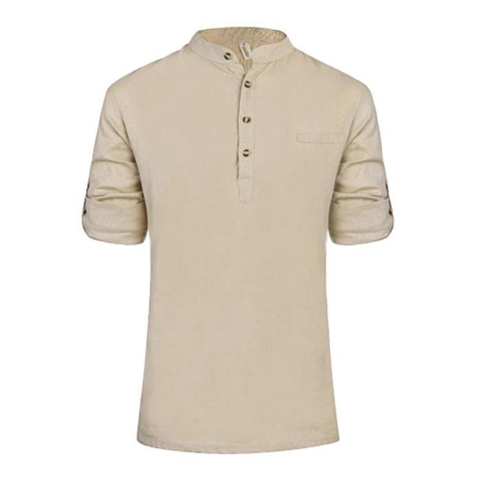 MEN/'S Baggy Rayure broderie en coton à manches longues boutonnée taille plus t shirts