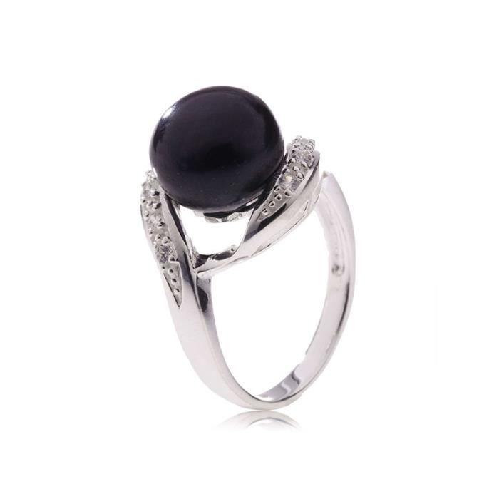 BAGUE - ANNEAU Bague Perle de culture Noire, argent et oxydes de