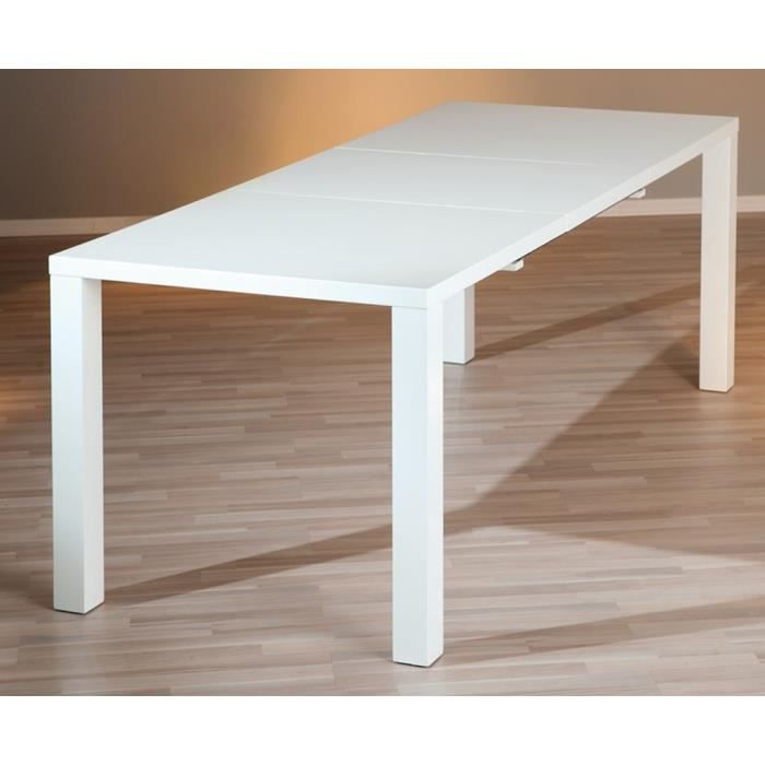 Table manger extensible coloris blanc laqu dim h 75 for Table a manger extensible blanc laque