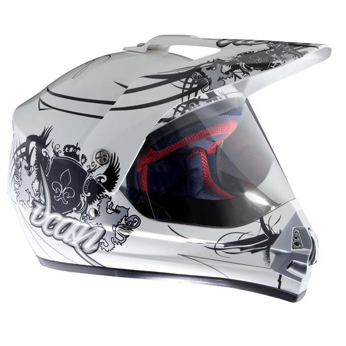 rokx casque helmet street cross arctic white achat vente casque moto scooter helmet street. Black Bedroom Furniture Sets. Home Design Ideas