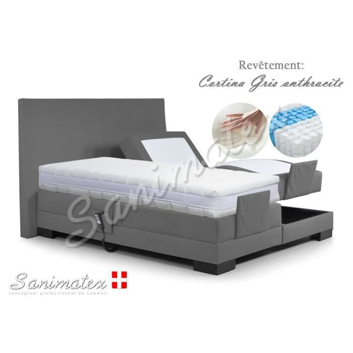 lit electrique boxspring 160x200 fujiyama amazonia gris anthracite achat vente lit complet. Black Bedroom Furniture Sets. Home Design Ideas