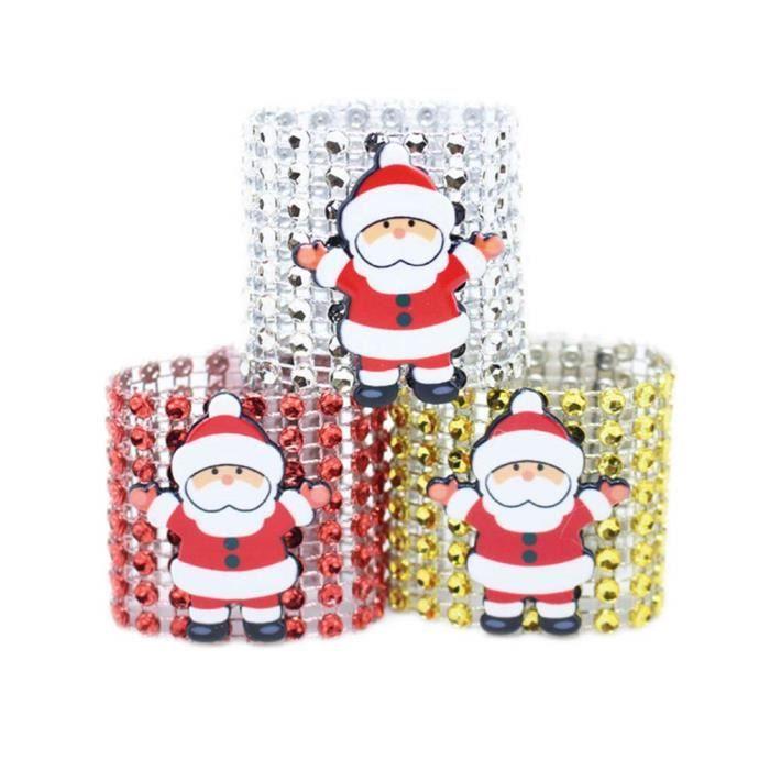 Paillettes d/'or arbre de noel serviette Anneaux détenteurs de Noël Décoration de Table pack de 6