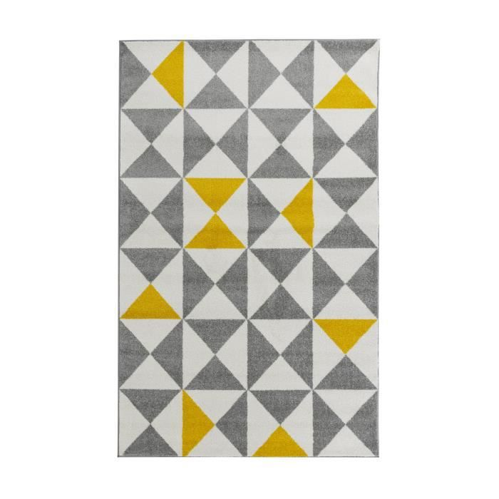 forsa tapis de salon jaune et anthracite 120x160 cm achat vente tapis 100 polypropyl ne. Black Bedroom Furniture Sets. Home Design Ideas