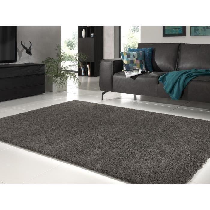 Gris Foncé Shaggy Tapis Salle Couloir Patins Anti Glisse épais tapis 60 x 220 cm