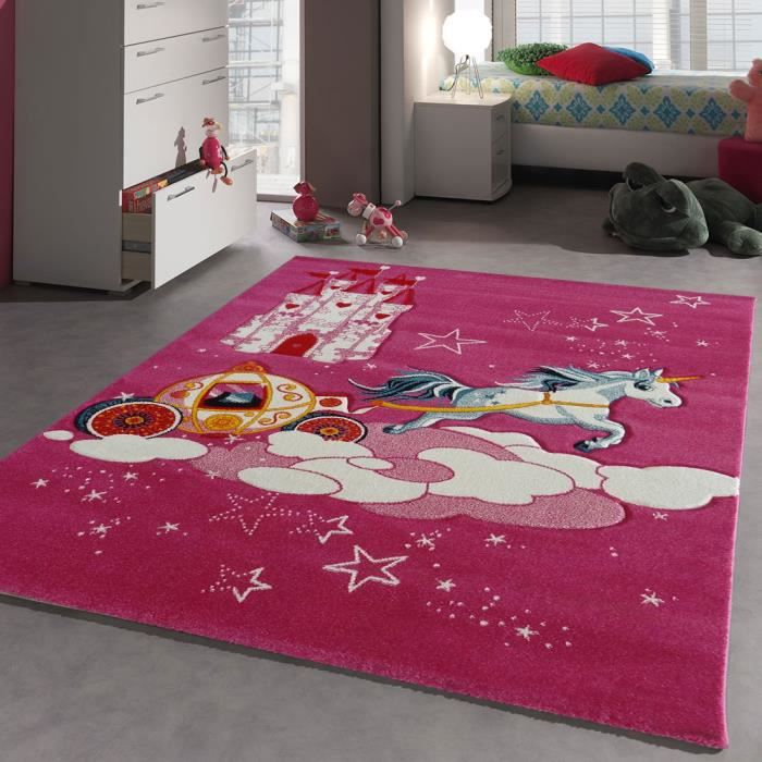 tapis chambre chateau licorne rose 80x150 par unamourdetapis tapis pour enfant achat vente. Black Bedroom Furniture Sets. Home Design Ideas