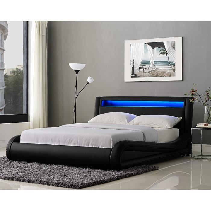 neptune lit adulte avec led 160x200 cm sommier noir achat vente structure de lit neptune. Black Bedroom Furniture Sets. Home Design Ideas