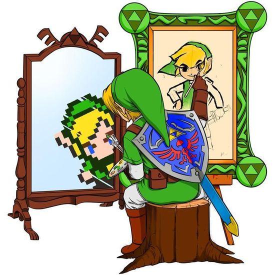 OKIWOKI Pull Enfant Noir Zelda parodique Link Autoportrait de h/éros. Parodie Zelda