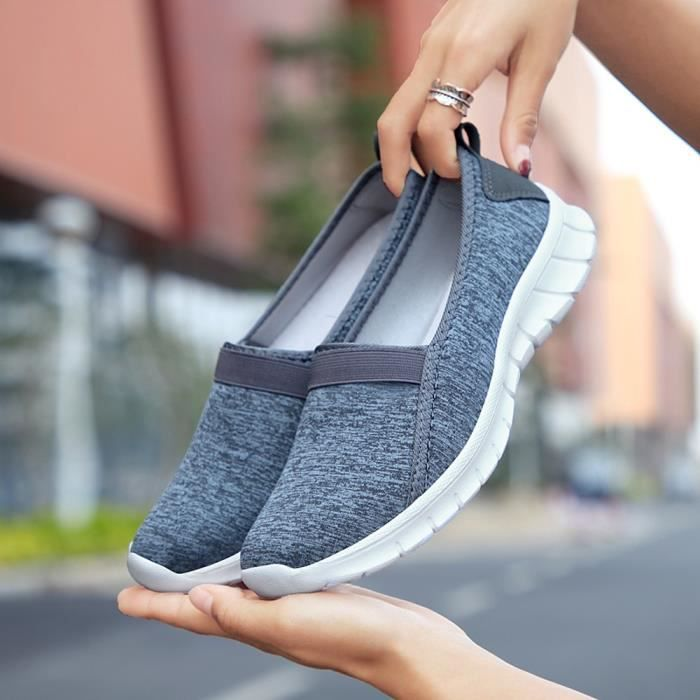 Casual Sole Sports Shoes Fashion Fonc Gris Femmes Lazy Soft Breathable Slip on pqW7WEYCSw