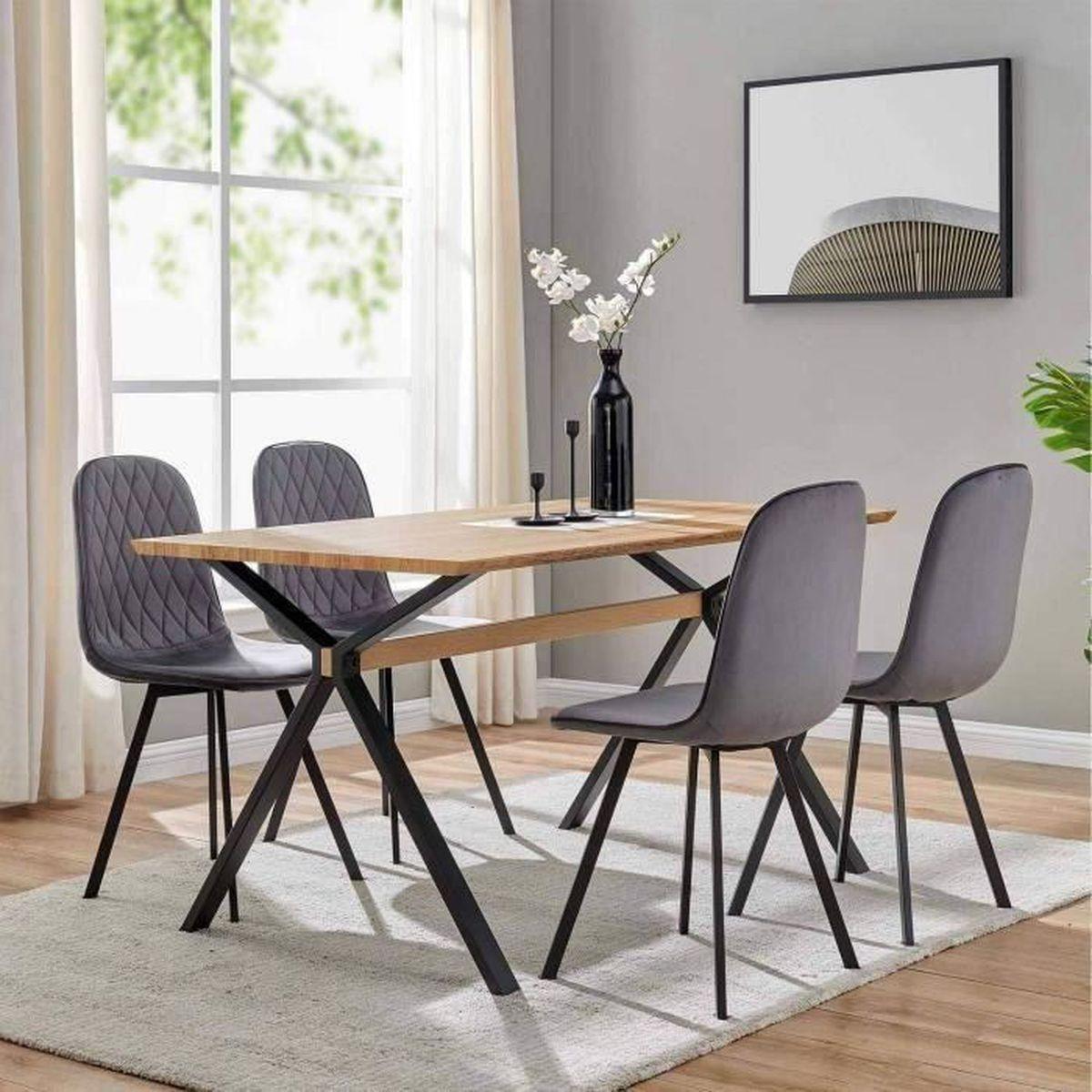 Table a manger avec chaises gris et blanc