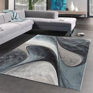TAPIS Tapis salon MADILA bleu 200 x 200 cm (Rond)
