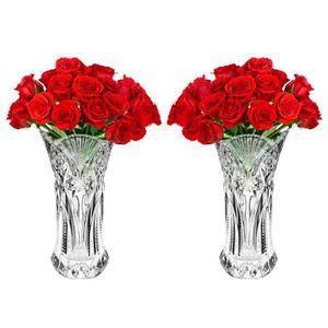 PORTE-VELO Vase en Verre Transparent (2Pcs) - 25cm Gros Vase