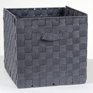 CASIER POUR MEUBLE Cube de rangement pliable avec sangles Gris Anthra