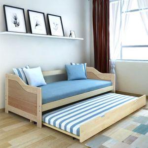 STRUCTURE DE LIT Canapé-lit de jour bois de pin naturel 200 x 90 cm