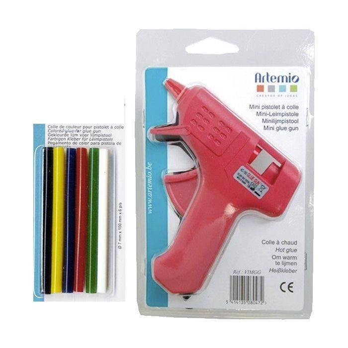Artemio - Mini pistolet à colle + bâtonnets de colle à paillettes