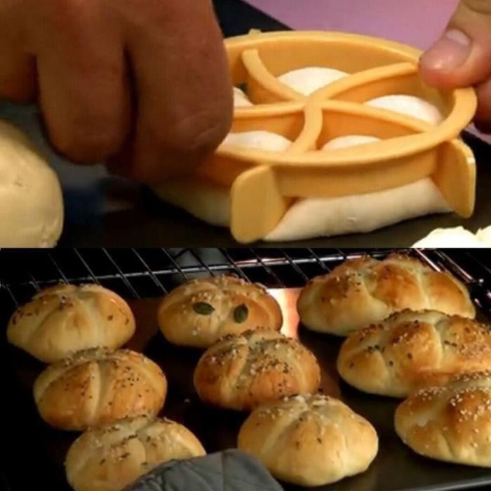 Coupe-pâte en plastique pâtisserie Pressebiscuits pain maison Rolls Moisissures Stamp cuisson_poi969