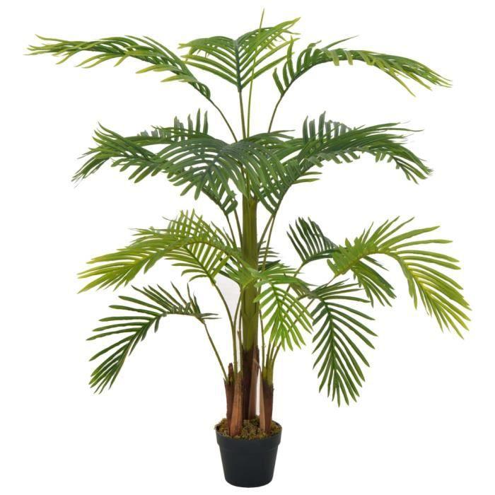 Plante artificielle Arbre- Fleur Artificielle pour Décoration Extérieur Interieur- avec pot Palmier Vert 120 cm