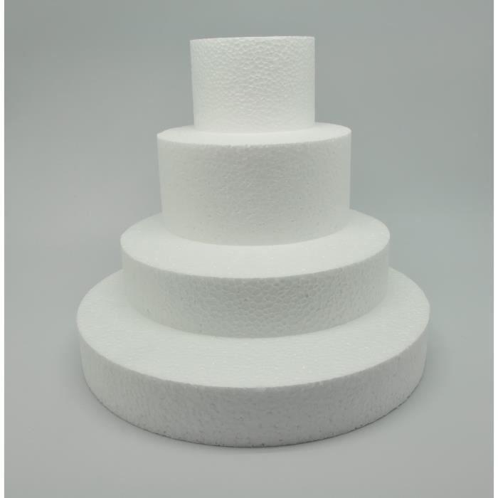 Pièce montée Disques polystyrène Ø 25/20/15/10 cm - LePolystyrène.com Blanc